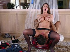 Slutty Brooklyn doesn't get pleased, until she's fucked hard! Click to watch the busty milf, seducing her horny partner with an inciting blowjob. See her facesitting, then roughly banged from behind... Don't miss the crazy hardcore scenes.