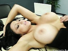 Audrey Bitoni with big melons and clean snatch gets fucked literally to death by Johnny Castle