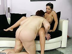 Redhead with huge tits and Hetty have lesbian sex session of their lifetime