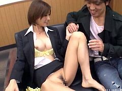 Who said working in an office cannot be fun? A naughty hot Asian is eager to give in to a horny guy, who seems interested in getting her naked. See the man playing with her lovely nipples and fingering her appetizing cunt.