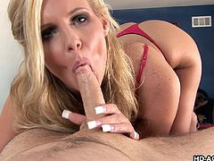 There's one thing slutty Marie loves most: when a horny partner stuffs his dick down her throat! Click to watch the attractive milf with blonde hair, exposing her stunning big tits and sucking cock with enthusiasm.