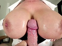Visit official Evil Angel's HomepageHuge tits Asian slut throats cock and then smacks it between her huge melons in really sloppy manners during harsh POV oral show which ends with facial