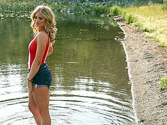 It's a sunny weather and naughty Maya went out to take a walk near the lake. Click to see this blonde-haired goddess, with perfect body, undressing. Watch her masturbating and don't miss the spicy details!