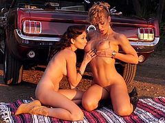 Nicole and Ariana love to hang out with each other and there is no better way to spend a weekend, than go outdoors. They take a picnic with them. But instead of enjoying their food, they strip and start fingering each other. Ariana is turned on by now and licks Ariana's sweet pussy really hard.