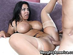 Jack Lawrence pulls out his pole to fuck Chica Sienna West with giant boobs and bald bush