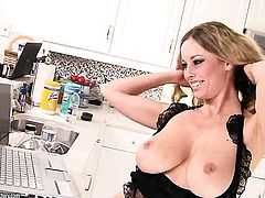 Blonde Puma Swede with huge jugs has some dirty lesbian fantasies to be fulfilled with Anita Dark