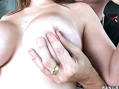 Tiffany Cross with huge melons gets treated like a fuck toy by hot guy in hardcore action