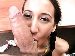 Brunette with tiny butt and trimmed cunt gets her nice face painted with man cream after sex with horny dude