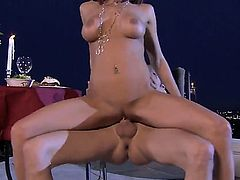Kirsten Price is a cute, skinny girl and this redhead has got some really nice, fake, small boobies. Shes going to get licked and then shes going to ride that big cock of his
