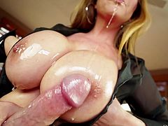 Milf titjob with oiled up boobies feels fucking fantastic