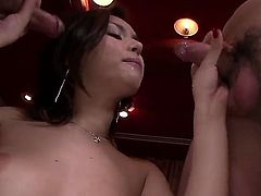 Japanese babe with an incredible body and a firm and round ass, Maria Ozawa, is going to blow the cocks of these two dudes. Theyre the luckiest guys on the planet at the moment