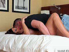 It's time to spoil this naughty pussy cat with lusty caresses and passionate kisses. The horny lover is just crazy after Alexa's hot big boobs. See the voluptuous brunette, spreading legs and sucking dick with enthusiasm!