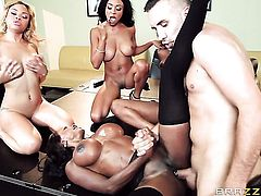 Ebony Jade Aspen with massive tits warms Keiran Lee up before cock sucking