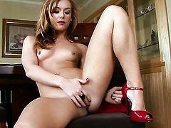 Dani Jensen with tiny tities and trimmed snatch parts her legs on cam and feels no shame