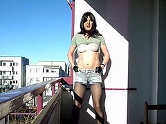 Sandralein33 smoking Emo Girl in hot short Jeans