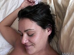 Manuel just goes through the chicks like he's a machine. Charley Chase is the one, that is getting fucked by him today. First, she properly worships his famous member with her tits, before letting her mouth and tongue take over. Now, she's on her back and her pussy is getting stuffed.