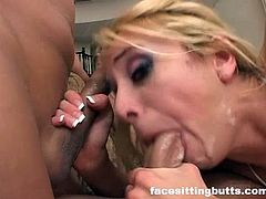 Double anal gangbang for an ultra-wild blonde milf