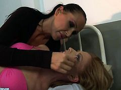 Blonde kitty Safira White with gigantic breasts screams from endless orgasms after getting tongue fucked by her lesbian lover Mandy Bright