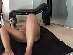 Leggy chick gets her anal hole destroyed on a leather hassocks