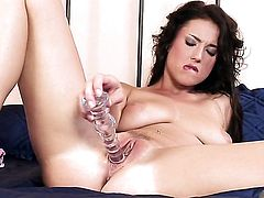 Delicious woman Stracy Stone with giant tits and shaved snatch cant live a day without playing with her pussy hole