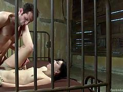 Slutty Juliette has been tied up with strong ropes and has to please a horny partner. The helpless naked brunette loudly screams, as her ass is being roughly pounded sideways. Click to watch her spreading legs and getting also fucked hard from behind!