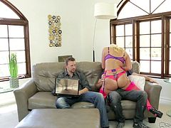 Slutty Layla puts on her most sexy bra and some kinky pink stockings, which make her looks incredibly hot. See the seducing blonde lady, welcoming her two guests, who are chatting on the couch. Watch this bitch sucking dick and getting dirty!