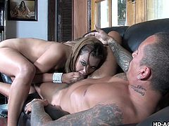 Slutty Mercedez is so anxious to have fun with her partner! Click to watch the nude tattooed bitch, wearing only a pair of high heels, sucking dick with an outstanding fervor... Notice this sensual lady's big ass and enjoy the sight.