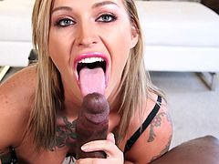 Slutty Kleio seems excited in the presence of her ebony partner. Click to watch this superb tattooed babe, with big beautiful breasts, just craving to get dirty. The blonde wears makeup and looks very provocative, only dressed with a sexy bra. See her sucking dick, right to the balls!