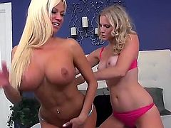 Nikkita Von James and Brianna Ray are two blonde pornstars that are almost in love with each other. These bimbos are going to down on each other with quite a lot of passion