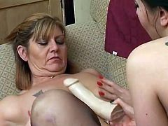 Two lovely milfs are on the couch eating each other