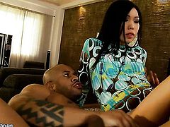 Teen oriental Yiki cant resist guys erect snake and takes it in her mouth