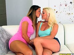 Good roommates work together on all issues that arise, and that includes the need for hot sex and orgasms. Cameron and Val both have that issue now. They get their clothes off and Val's first. Cameron tongues her slit from behind and fingers her deeply, to make her moan louder and louder. She's gonna blow!