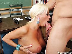 Johnny Castle plays with sultry Nikita Von Jamess wet hole before he bangs her hole with his rock hard love wand