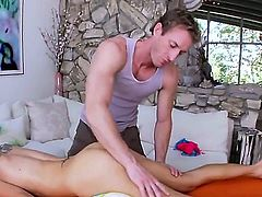 Sarah Jessie is one horny little blonde. She always likes to have some fun while on the massage table and her husband is out of town. See her get a wet fingered pussy in these massage videos while she gets oiled up and teased.