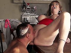Darla Crane is one of those trashy mature sluts that will make your dick hard really easily. In this scene she gets her smooth kitty drilled so well by a handsome tattooed stud. This bitch is hot!