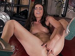 Naughty brunette Casey Calvert spreads her legs and plays with her twat with her sneakers on. Sexy chick with natural boobs enjoys pussy fingering right in front of the camera and feels no shame.