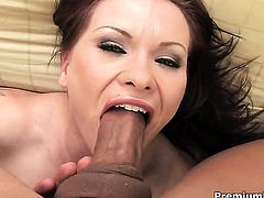 Incredibly sexy doll Katja Kassin has a nice time playing with cum loaded dick