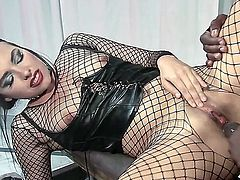 Fantastic freaky brunette is ready for some hard sex with her black lover while her husband is watching. Dark haired slut in a corset gets banged from behind by this well endowed black man, she just loves it.