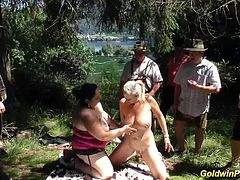 two chubby pierced busty german babes gets lederhosen banged in nature