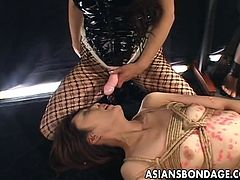 Asian freaks got together and they have a hot bdsm session where the doms dominate the subs with waxing, ropes and strap on. It all looks so creepy yet sexy.