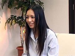 These coworkers engage in some sexy mutual masturbation. The hot Japanese slut strips down to her panties and uses a tiny vibrator on her snatch, while her male coworker strokes off his big cock hard and fast.