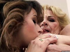 Blonde with juicy knockers screams from endless orgasms after getting tongue fucked by her lesbian lover Inia