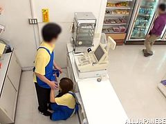 This guy comes into the convenience store for a quick snack, but little does he know, that the cashier is getting sucked off behind the counter. The female employee is sex crazed, and she needs to suck cock right now.