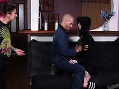 Lusty Sierra seduces a bald guy with her provocative attitude. She can't take a