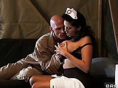Johnny Sins stretches Horny Missy Martinezs bush with his throbbing tool to the limit