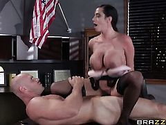 Chachita Ariella Ferrera with giant hooters just feels intense sexual desire and sucks Johnny Sinss love stick like crazy