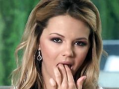 Ashlynn Brooke with big breasts and shaved pussy gets the pleasure from masturbating