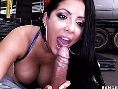 Kiara Mia with big booty gets her throat attacked by guys rock hard dick