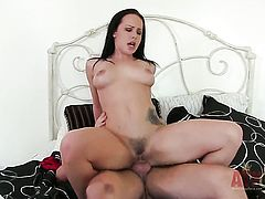 Brunette Katie St Ives gets her pretty face cum glazed after sex with hot dude