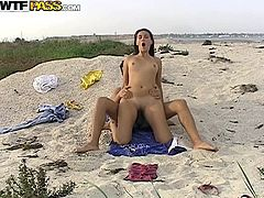 Viktoria and Yura were enjoying a day out in the beach. But Viktoria is so hot that Yura could not stop himself from putting his cock into her pussy. But not before Viktoria sucks his dick like a good girl, swallowing it really deep. Enjoy!